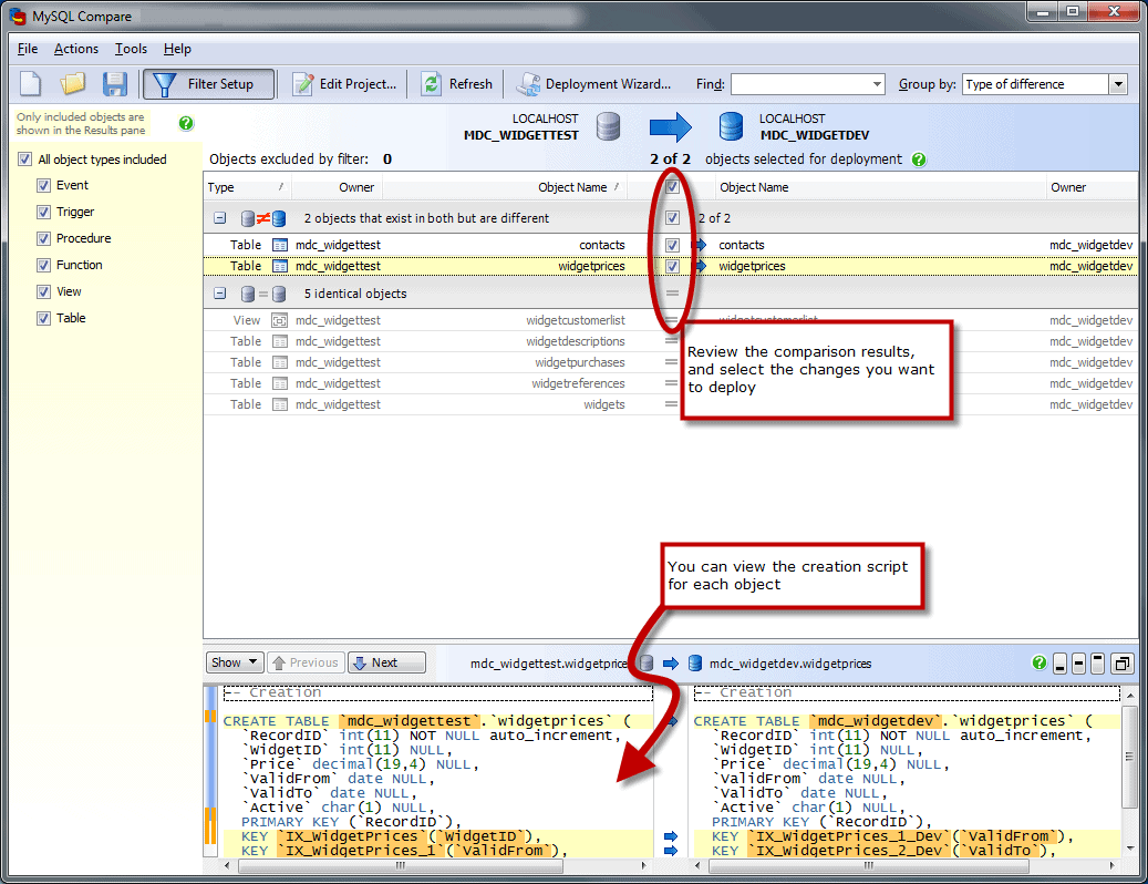 MySQL Compare: Compare And Diff Two MySQL Database Schemas