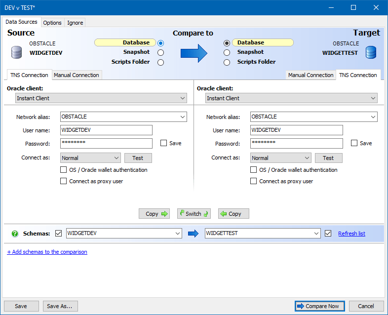 How to compare two oracle schemas and deploy changes with schema figure 1 connect schema compare for oracle to your oracle databases ccuart Choice Image