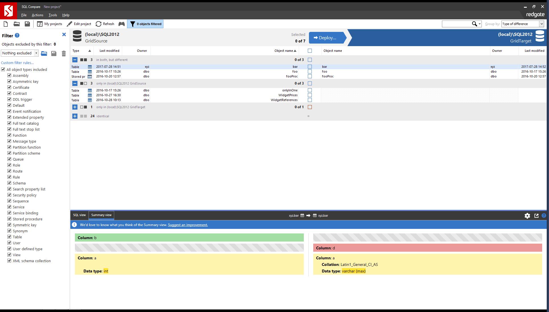 SQL Compare: Compare And Synchronize SQL Server Schemas