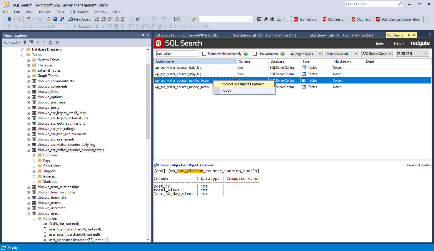SQL Search - Find SQL fast in SQL Server Management Studio and