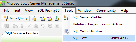 Launching SQL Test from the Tools menu in SQL Server Management Studio