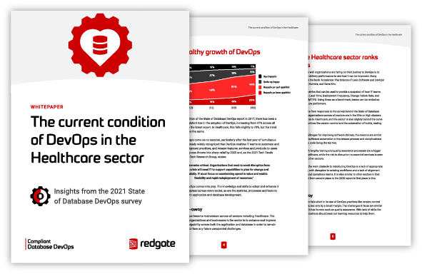 Pages from the 2021 Healthcare State of Database DevOps Report