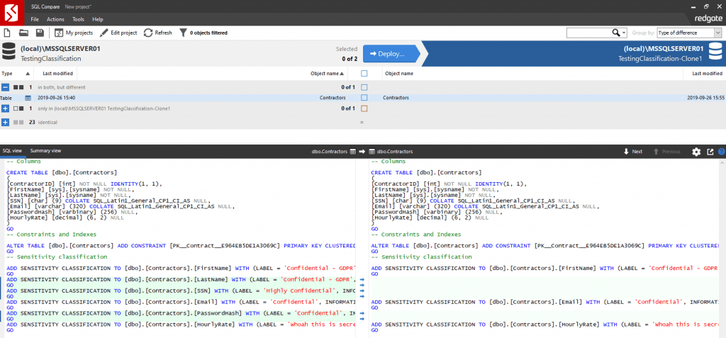 将SQL Server数据敏感度分类与SQL Compare同步